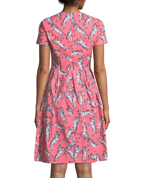 Zebra-Print Short-Sleeve Party Dress