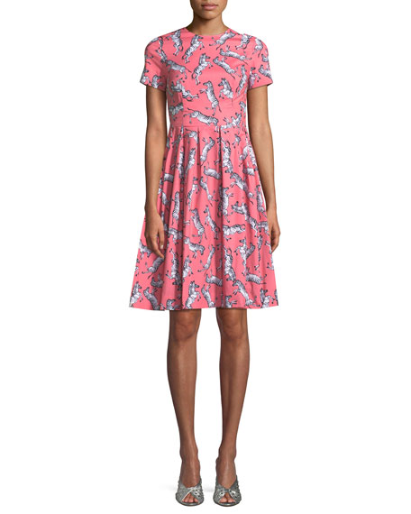 Carolina Herrera Zebra-Print Short-Sleeve Party Dress
