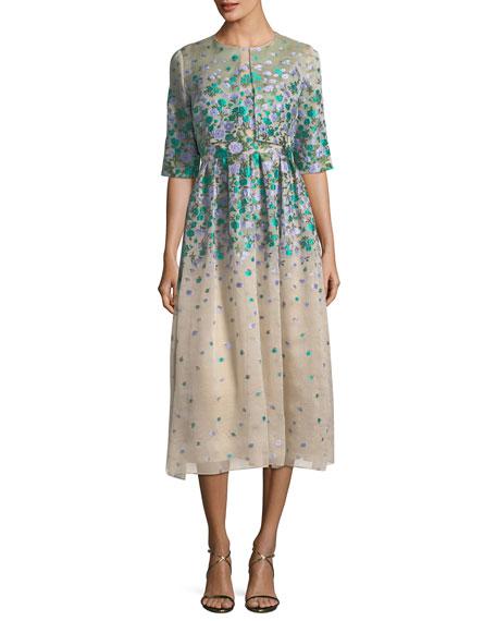 Sleeveless Floral Brocade Midi Dress