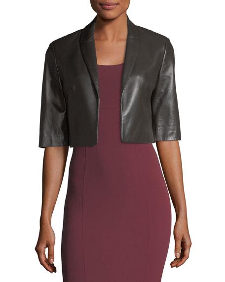 Cropped Plonge Leather Jacket