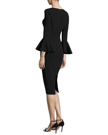 Bell-Cuff Bateau-Neck Sheath Dress, Black