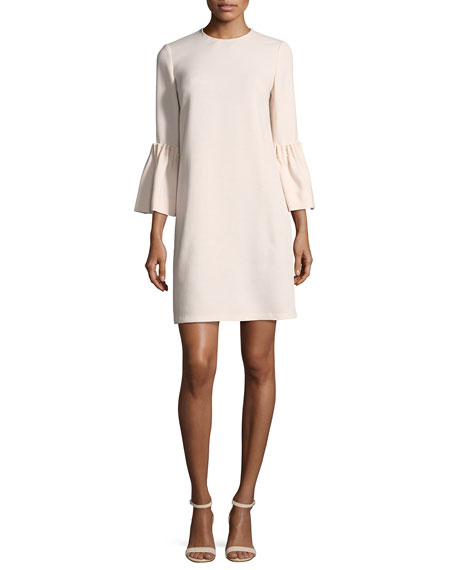 Pearly Beaded Flutter-Sleeve Tunic Dress
