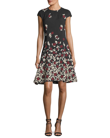 Lela Rose Cap-Sleeve Dress