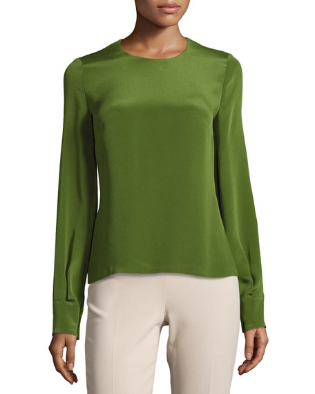 Cushnie Et Ochs Jewel-Neck Long-Sleeve Blouse