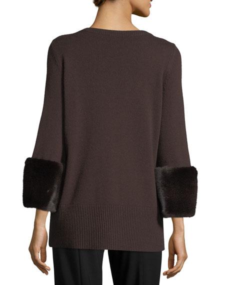 Mink-Cuff Cashmere Sweater