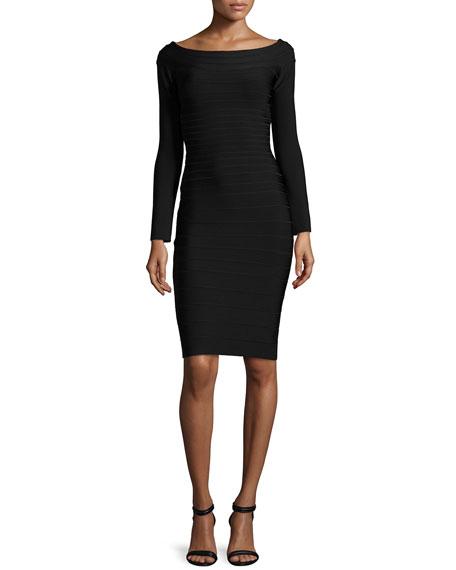 Off-the-Shoulder Long-Sleeve Bandage Dress