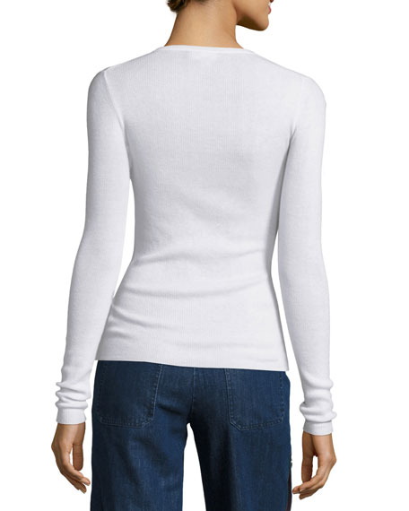 Long-Sleeve Cashmere Sweater, White