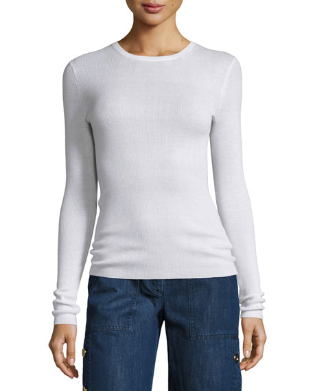 Michael Kors Collection Long-Sleeve Cashmere Sweater, White
