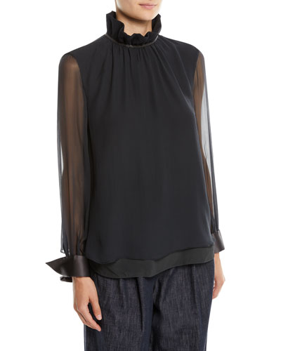 Long-Sleeve Silk Chiffon Blouse w/ Ruffle Monili Collar