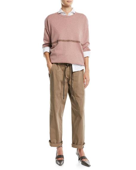 Paperbag-Waist Straight-Leg Cotton Pants w/ Cord Belt