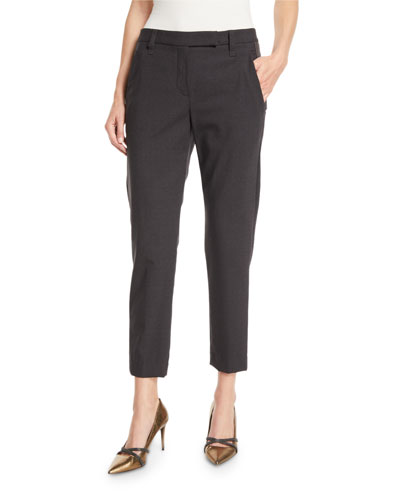 Straight-Leg Wool Pants w/ Monili Stripe