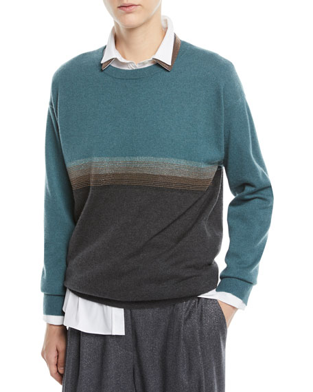 Brunello Cucinelli Crewneck Bicolor Horizontal-Stripe 2-Ply