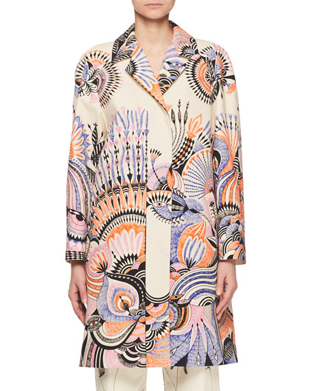 Free-Spirit Feather-Print Caban Coat