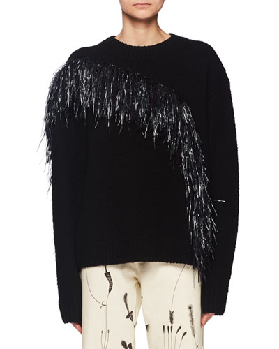 Raffia Yarn Wave Crewneck Wool-Cashmere Sweater