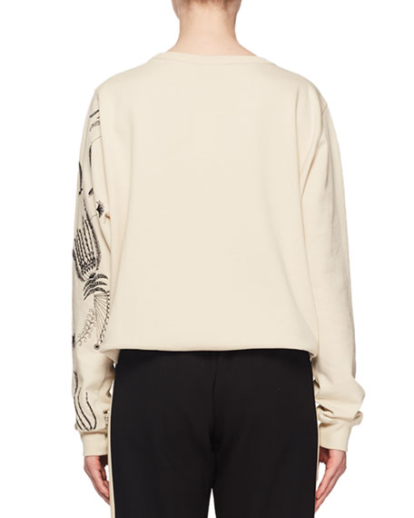 Floral-Embroidered Crewneck Long-Sleeve Cotton Pullover Sweatshirt