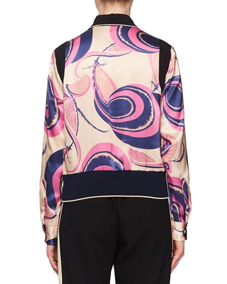 Deco Floral-Print Silk Blouse w/ Elastic Hem