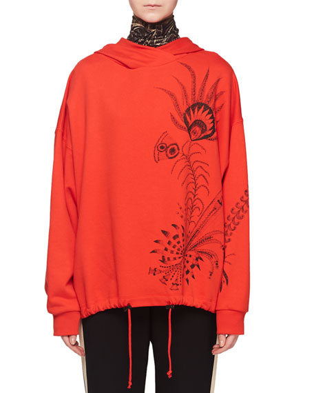 Hooded Feather-Print Pullover Sweatshirt w/ Drawstring Hem