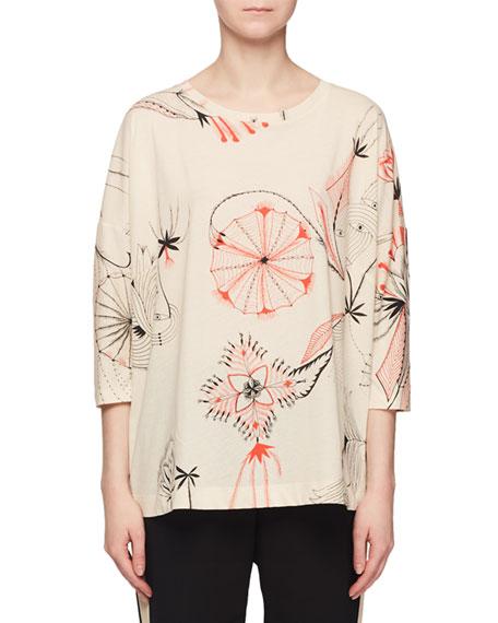 Sun-Catcher Print Crewneck 3/4-Sleeve Easy-Fit T-Shirt