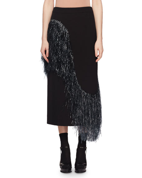 Wave-Raffia Fringe Wool-Blend Midi Pencil Skirt