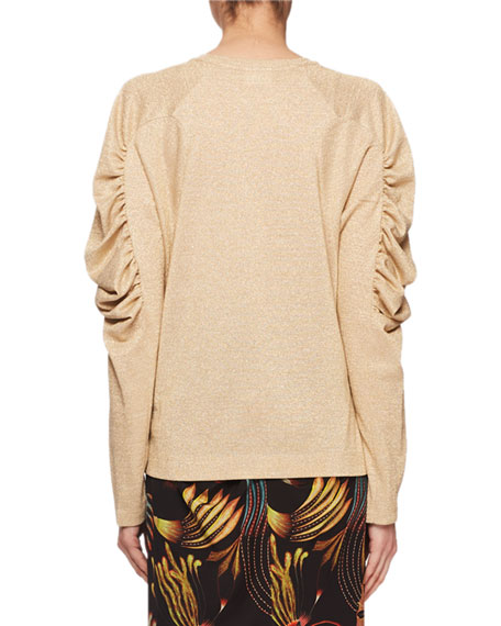 Ruched Long-Sleeve Jewel-Neck Metallic-Knit Top
