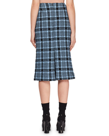 Heavy Check Knit Midi Pencil Skirt