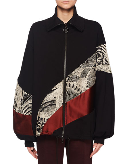 Hendix Zip-Front Embroidered Colorblock Bomber Jacket