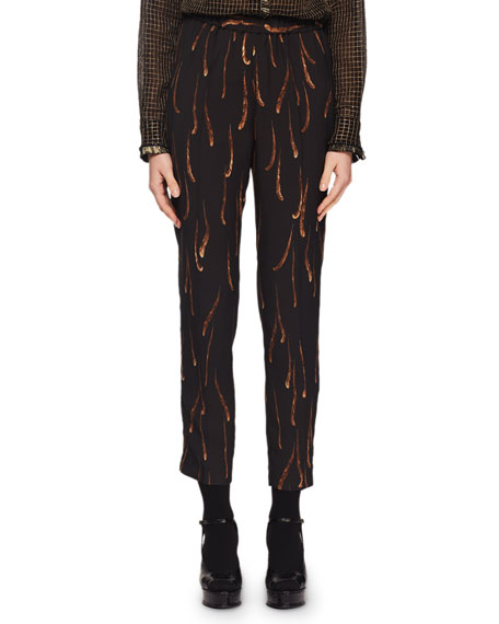 Feather-Print Pull-On Pants