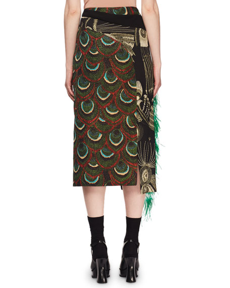 Peacock-Jacquard A-Line Midi Skirt w/ Ostrich Feathers