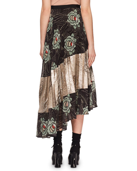 Sedima Plisse Pleat Floral-Print High-Low Skirt w/ Crinkle Metallic