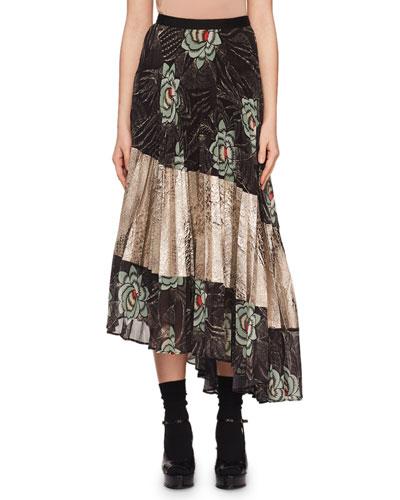 Sedima Plisse Pleat Floral-Print High-Low Skirt w/ Crinkle Metallic