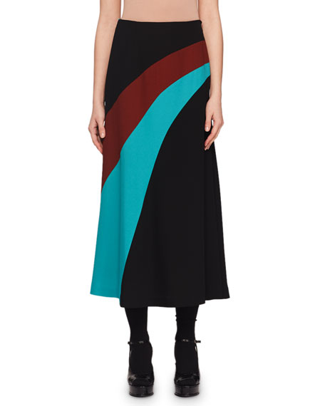 A-Line Wave-Inset Maxi Skirt
