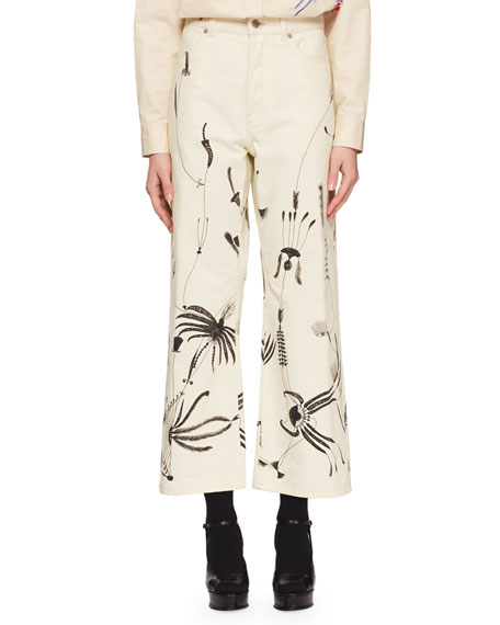 Pisco Wide-Leg Cropped Sun-Catcher Printed Jeans