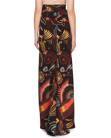 Sun-catcher Print Ruched Fishtail Long Skirt