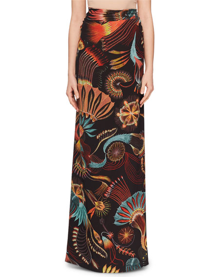 Sun-catcher Print Ruched Fishtail Long Skirt