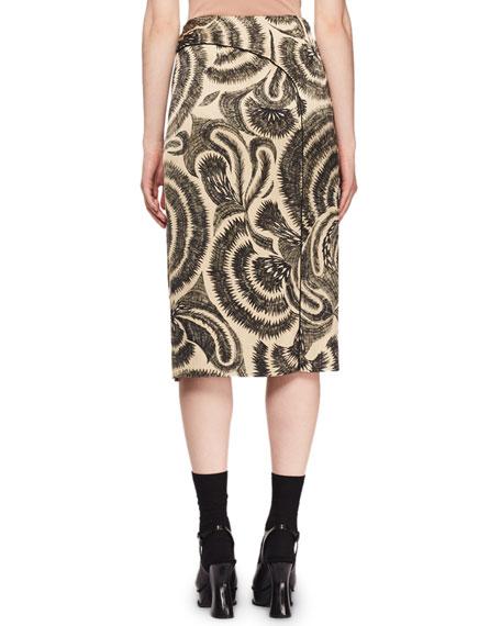 Scribble-Print A-Line Midi Skirt