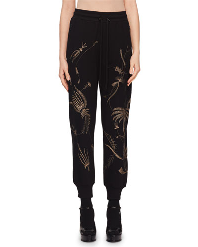 Floral-Embroidered Pull-On Jogger Pants