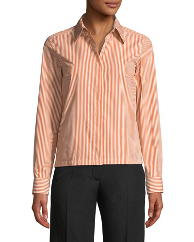 Button-Front Long-Sleeve Boxy Striped Shirt