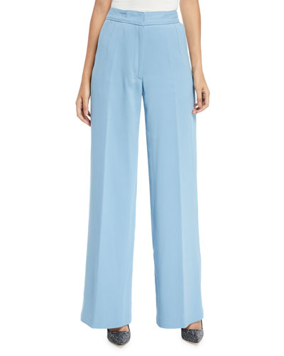 High-Rise Wide-Leg Classic Cotton Trousers