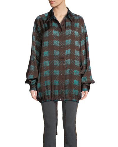 Checkered Drawstring-Hem Button-Front Blouse