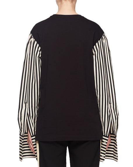 Striped Long-Sleeve Shirting Cotton T-Shirt