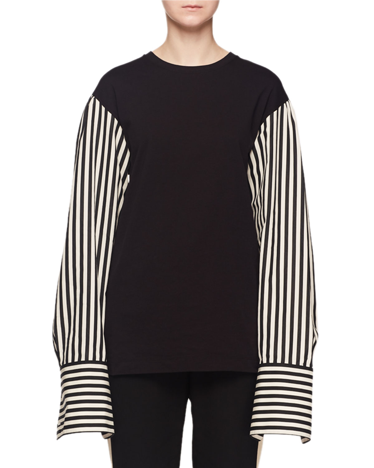 82739ef1be Dries Van Noten Striped Long-Sleeve Shirting Cotton T-Shirt