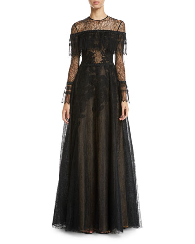 Edwardian Lace Long-Sleeve Gown