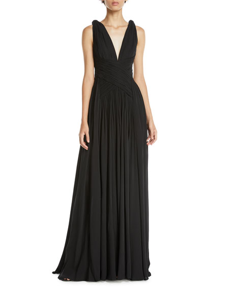 Zuhair Murad V-Neck Sleeveless Draped Silk Georgette Evening