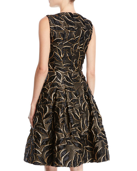 Sleeveless Bateau-Neck Leaf-Embroidered Fit-and-Flare Cocktail Dress with Pockets