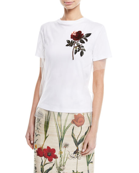 Crewneck Short-Sleeve Tulle Overlay Cotton Tee w/ Sequin Rose