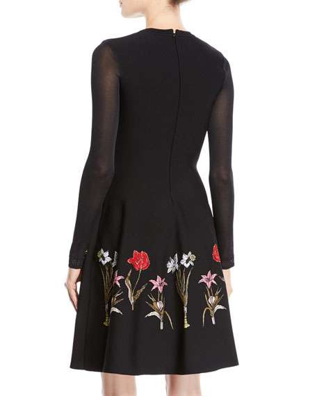 Long-Sleeve Fit-and-Flare Flower Harvest Jacquard Knit Dress