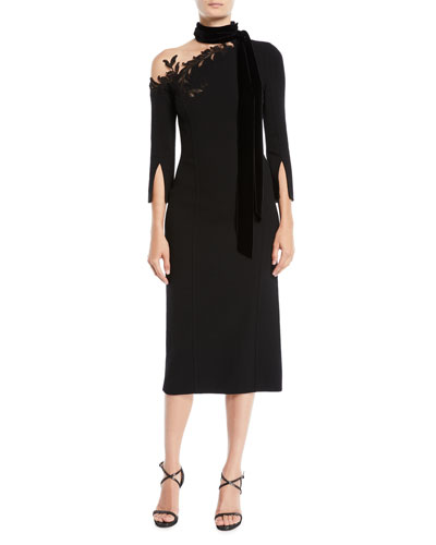 3/4-Sleeve Illusion One-Shoulder Tie-Neck Crepe Wool Cocktail Dress