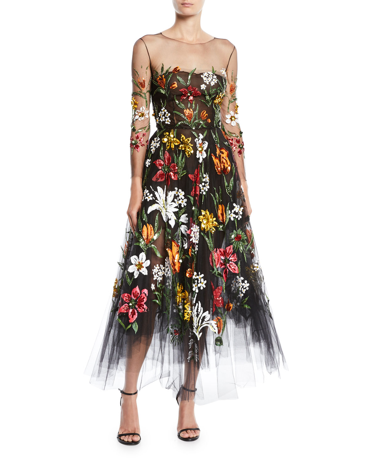 Long Sleeve Fit And Flare Fl Harvest Embroidered Tulle Evening Gown
