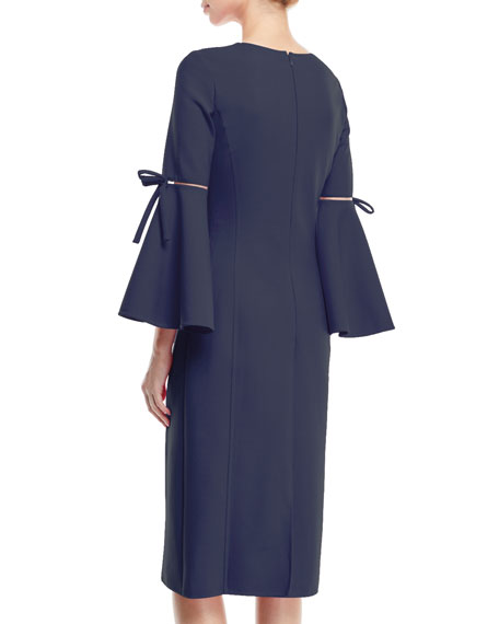 3/4-Flutter-Sleeve Jewel-Neck Stretch-Wool Pencil Dress