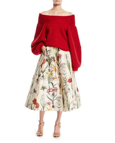 Tea-Length Floral-Jacquard Full Party Skirt